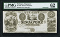Obsoletes By State:Michigan, Singapore, MI- Bank of Singapore $2 18__ G4 Remainder PMG Uncirculated 62.. ...