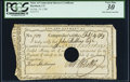 Connecticut Interest Certificate 5 Shillings February 19, 1789 Anderson CT-50 PCGS Very Fine 30, Hole Punch Cancelled...