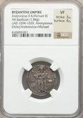 Ancients:Byzantine, Ancients: Andronicus II Palaeologus and Michael IX (AD 1294-1320). AR basilicon (22mm, 1.84 gm, 6h). NGC VF 3/5 - 4/5....