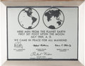 Explorers:Space Exploration, Apollo 11: Facsimile Lunar Plaque in Frame Directly From The Armstrong Family Collection™, CAG Certified. ...