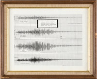 Apollo 11: Seismogram of Launch in Framed Display Directly From The Armstrong Family Collection™, CAG Certified.<...