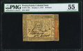 Colonial Notes:Pennsylvania, Pennsylvania October 1, 1773 18d PMG About Uncirculated 55.. ...
