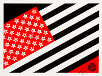 Shepard Fairey (b. 1970) Flag (Small), 2010 Screenprint in colors on white speckled paper 7-1/2 x 10 inches (19.1 x 2