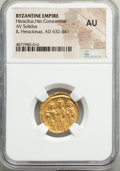 Ancients:Byzantine, Ancients: Heraclius (AD 610-641), with Heraclius Constantine and Heraclonas. AV solidus (20mm, 7h). NGC AU....