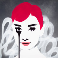 Pure Evil (b. 1968) Floating Audrey, 2018 Stencil and spray paint on canvas 39-1/4 x 39-1/4 inche
