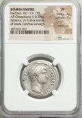 Ancients:Roman Imperial, Ancients: Hadrian (AD 117-138). AR cistophorus (27mm, 10.39 gm,12h). NGC VF 4/5 - 3/5, overstruck....