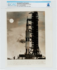 "AP Original Wirephotos: ""Talk of the Town: Missiles and the Moon"" July 15, 1969, Directly From The Armstrong F..."