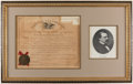 Autographs:Letters, 1887 President Grover Cleveland Signed, Framed PostmasterAppointment Display....