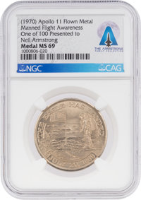 APOLLO 11: Manned Flight Awareness Medal MS69 NGC, One of 100 Presented to Neil Armstrong, Directly from The Armstrong F...