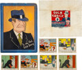 """Non-Sport Cards:Lots, 1930's R41 Walter Johnson Candy Co. """"Dick Tracy"""" Cards, Wrapper and Premium? (8 Pieces). ..."""