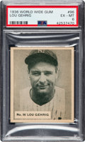 Baseball Cards:Singles (1930-1939), 1936 World Wide Gum Lou Gehrig #96 PSA EX-MT 6 - Pop Three, Only One Higher!...