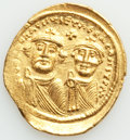 Ancients:Byzantine, Ancients: Heraclius (AD 610-641) and Heraclius Constantine. AV solidus (22mm, 4.38 gm, 7h). Choice XF....