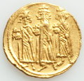 Ancients:Byzantine, Ancients: Heraclius (AD 610-641), with Heraclius Constantine and Heraclonas. AV solidus (20mm, 4.44 gm, 7h). About XF, graffito....