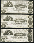 Confederate Notes:1861 Issues, T28 $10 1861 Three Examples Very Fine-Extremely Fine or Better.. ... (Total: 3 notes)