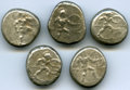 Ancients:Ancient Lots , Ancients: ANCIENT LOTS. Greek. Pamphylia. Aspendus. Ca. mid-5th century BC. Lot of five (5) AR staters. Fine, test cuts.... (Total: 5 coins)
