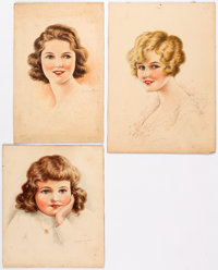 Joseph L. DuPort - Lovely Ladies Paintings Original Art Group of 3 (1936-38)