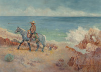 Robert Farrington Elwell (American, 1874-1962) Vaquero on the Shore Oil on canvas 26 x 36 inches