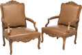 Furniture : French, A Pair of French Regence-Style Wood and Leather Armchairs, early 20th century. 41-3/4 x 29-1/2 x 29-1/2 inches (106.0 x 74.9... (Total: 2 Items)