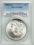 Morgan Dollars: , 1882-CC $1 MS62 PCGS. PCGS Population: (3029/30777). NGC Census: (1921/15486). CDN: $210 Whsle. Bid for problem-free NGC/PC...
