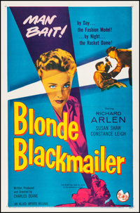 """Blonde Blackmailer (Allied Artists, 1958). Very Fine+ on Linen. One Sheet (27"""" X 41.25""""). Crime"""
