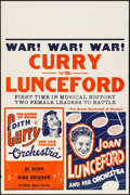 """Movie Posters:Rock and Roll, Curry vs. Lunceford (c.1940s). Rolled, Fine/Very Fine. StockConcert Poster (28"""" X 42""""). Musical.. ..."""