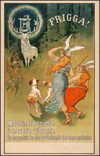 """Frigga Sewing Machines (c. Early 1900s). Fine+ on Linen. French Advertising Poster (31"""" X 48""""). Miscellaneous..."""