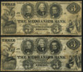 Obsoletes By State:Tennessee, Memphis, TN- Mechanics Bank $3 May 10, 1854 Two Examples Fine.. ... (Total: 2 notes)