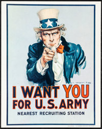 """I Want You (R-1967). Very Fine. Window Card (11"""" X 14"""") James Montgomery Flagg Artwork. Miscellaneous"""