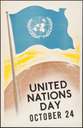 "Movie Posters:Miscellaneous, United Nations Day (Late 1950s-Early 1960s). Rolled, Very Fine. Poster (22"" X 34""). Miscellaneous.. ..."