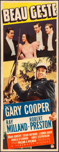 "Movie Posters:Adventure, Beau Geste (Paramount, 1939). Folded, Fine/Very Fine. Insert (14"" X36""). Adventure.. ..."
