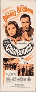 "Movie Posters:Academy Award Winners, Casablanca (Dominant, R-1956). Rolled, Very Fine. Insert (14"" X 36""). Academy Award Winners.. ..."