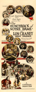 "Movie Posters:Horror, The Hunchback of Notre Dame (Universal, 1923). Fine/Very Fine on Paper. Insert (14"" X 36"").. ..."