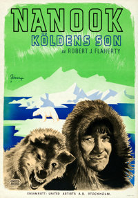 "Nanook of the North (United Artists, 1922). Folded, Very Fine+. Swedish One Sheet (27.5"" X 39.5"") Eric Rohman..."