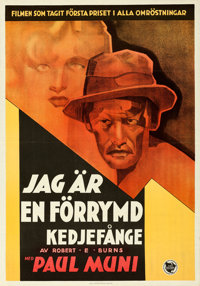 "I Am a Fugitive from a Chain Gang (First National, 1933). Folded, Very Fine+. Swedish One Sheet (27.5"" X 39.5""..."
