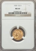 Indian Quarter Eagles: , 1929 $2 1/2 MS64 NGC. NGC Census: (2814/284). PCGS Population: (2024/222). MS64. Mintage 532,000. ...