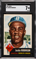 Baseball Cards:Singles (1950-1959), 1953 Topps Jackie Robinson #1 SGC NM 7....