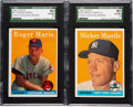 Baseball Cards:Lots, 1958 Topps Mantle & Maris SGC 80 EX/NM 6 Pair - From the Mickey Mantle Collection! ...