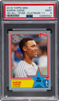 Baseball Cards:Singles (1970-Now), 2018 Topps Mini Aaron Judge '83 All-Star Platinum #1 PSA Mint 9 - Serial Numbered 1/1!...