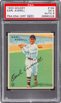 Autographs:Sports Cards, Signed 1933 Goudey Earl Averill #194 PSA EX 5 - Auto 9....