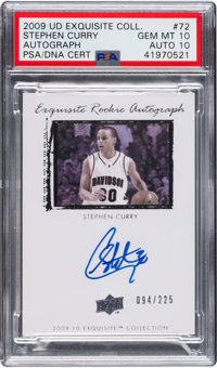 2009 Upper Deck Exquisite Collection Stephen Curry Rookie Autograph 94/225 #72 PSA Gem Mint 10 - Auto 10