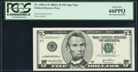 Low Serial Number 321 Fr. 1991-G* $5 2003A Federal Reserve Star Note. PCGS Gem New 66PPQ