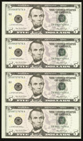 Fr. 1993-B $5 2006 Federal Reserve Notes. Uncut Sheet of Four. Crisp Uncirculated