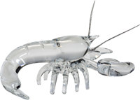 Steuben Silver and Glass Lobster Desk Ornament Designed in 2006 by Taf Lebel Scha