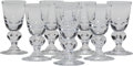 Art Glass, Eight Steuben 7877Pattern Cordial Glasses, Corning, NewYork, mid-20th century. Marks: Engraved Steuben. 3-3...(Total: 8 Items)