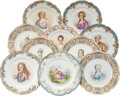 Ceramics & Porcelain, Continental, Ten Sevres-Style Porcelain Portrait Plates, early 20th century.Marks: apocryphal SEVRES 1846, CHATEAU DES TUILERIES, CHAT...(Total: 10 Items)