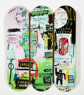 Collectible:Contemporary, After Jean-Michel Basquiat X The Skateroom. Skateboard Triptych in Italian, 2014. Offset lithographs in colors on skate ... (Total: 3 Items)