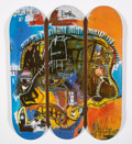 Collectible:Contemporary, After Jean-Michel Basquiat X The Skateroom. Triptych Skull, 2014. Screenprint in colors on skate deck. 32 x 8 inches (81... (Total: 3 Items)