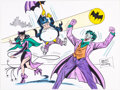 Original Comic Art:Illustrations, Sheldon Moldoff - Catwoman, Penguin, and the Joker IllustrationOriginal Art (1992)....