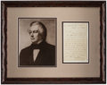 Autographs:Letters, 1854 President Millard Fillmore Signed, Framed Display.