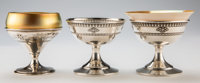 Three Various Silver and Iridescent Glass Sherbet Cups, circa 1920 Marks: (Dominick & Haff cipher), STERLING, A